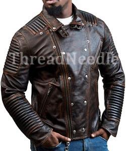 Men's Biker Distressed Brown Retro Leather Motorcycle Genuine Slim Jacket