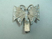 VINTAGE SILVER BUTTERFLY GLITTER WING HAIR CLIP BARRETTE UP DO HAIR ACCESSORY