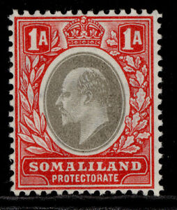 SOMALILAND PROTECTORATE EDVII SG46, 1a grey-black & red, LH MINT. ORDINARY
