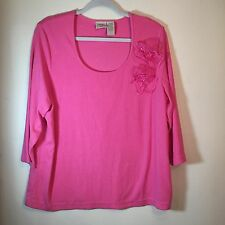 Fiorlini Plus - Pink Round Neck 3/4Sleeves Pullover Stretch Top Sz 18/20W