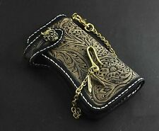 Skull Concho Mens Vintage Biker Carved Leather Bifold Long Wallet Purse w/ Chain