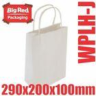 50 Junior White Kraft Paper Gift & Shopping Bags Twist Rope Handles 290x200x100