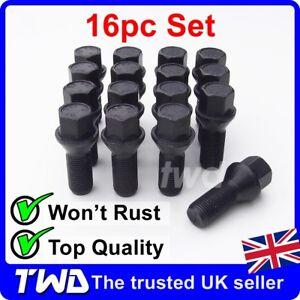 16x BLACK ALLOY WHEEL BOLTS FOR MINI (2006+) M14x1.5 R55 R56 STUD LUG NUTS [K40]