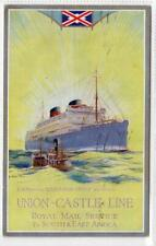More details for union-castle line: shipping poster type advertising postcard (c53977)