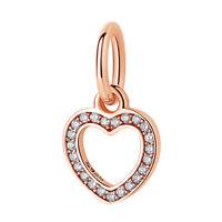 NEW Rose Gold Heart Dangle Charm Pendant CZ Genuine Sterling Silver 925 UK S925
