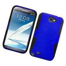 For Samsung Galaxy Note II 2 MESH Hard Hybrid Silicone Rubber Skin Case Blue