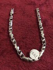 White Gold Mens Heavy Link Bracelet 8 Inches Lobster Lock