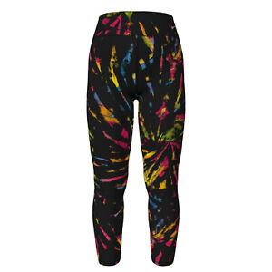 OS LuLaRoe One Size Leggings Gorgeous Rainbow Tie Dye on Black NWT E27