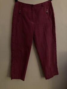 Jamie Sadock Womens Sz 8 Cropped Pants Golf Studded Straight Pink Zip Pockets