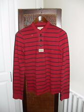 Men's Hollister Burgundy Strip Half Buttoned Sweatshirt Size S