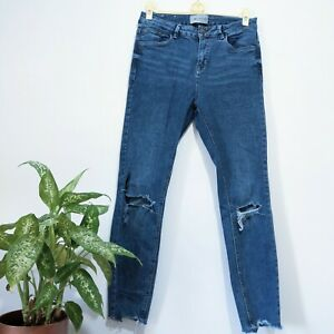 Ripped Skinny Jeans Size 12 Ladies Blue Ankle Grazer Mid Rise NEW LOOK