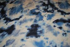 Rayon  Spandex Tie-Dye Print Jersey Knit Fabric Beautiful Blue  Cream Multi 9 oz