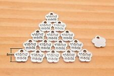 metal label tag HANDMADE charm alloying nickel 8 mm 50 pieces i81
