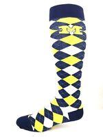 Michigan Wolverines NCAA Navy Yellow and White Plaid Thin Long Socks