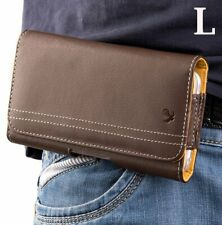 BlackBerry KEY2 /KEY2 LE - Brown Horizontal Leather Pouch Belt Clip Holster Case