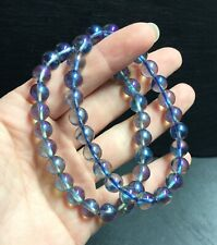 "Blue Aura Quartz 8mm Bead Polished Crystal Bracelet 7.5"" Peace Cleansing Healing"