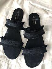 Lauren Conrad LC Women's Coffee Sandals Black Fringed Straps Faux Suede XL