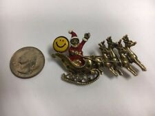 Vintage Rhinestone Santa Christmas Gold Tone Pin/Brooch Smiley Face