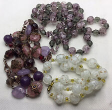 Two Vintage Venetian Glass Bead Necklaces With One Other