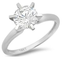 2ct Round Cut Classic Solitaire Engagement Promise Ring Solid 14k White Gold