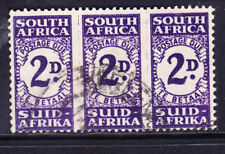 SOUTH AFRICA 1944 SGD32a 2d bright violet strip of 3 Postage Due very f/u cat£50