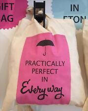 Mary POPPINS Tote COTONE Book Bag: praticamente perfetto OMBRELLO DA FILM-NUOVO