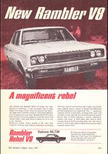 "1967 RAMBLER REBEL V8 AMC AD A1 CANVAS PRINT POSTER FRAMED 33.1""x23.4"""
