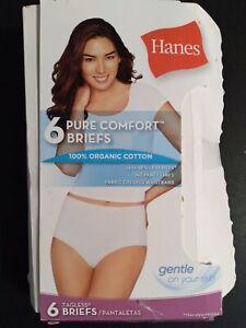 Hanes Pure Comfort 100% Organic Cotton Tagless Briefs Size 7 Multicolor NEW