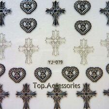 3D Antique Silver Sacred cross Design Nail Art Decals Sticker #07030S-G Free P&P