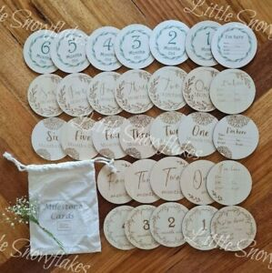 Wooden Milestone Cards Double Sided 14 Pcs Baby Shower Gift Wood Announcement