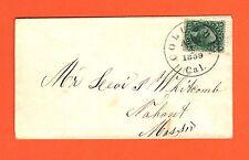US #33 On Small Cover 10c Washington - Apr 4, 1859 Columbia Cal. CDS - ex. Klein