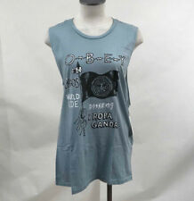 Obey Women's Muscle Tank Top Stab Flag Dusty Mineral Blue Size S NWT Skull