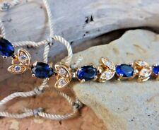 New 16 ctw Lab Blue Sapphire Leaf Tennis Bracelet 18k Yellow Gold Filled #808