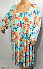 2b Together Women Plus Size 2x Turquoise Asym Tunic Top Blouse Shirt Dress