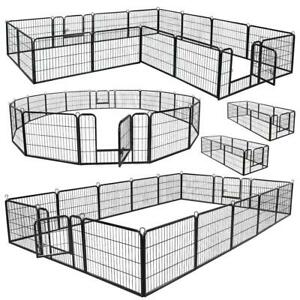 8 / 16 Panel Heavy Duty Cage Crate Pet Dog Exercise Fence Playpen 40'' 32'' 24''