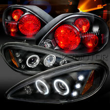 99-05 Pontiac Grand AM Black LED Halo Projector Headlights+Rear Tail Lamps