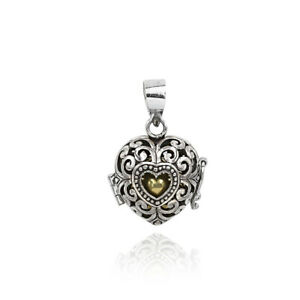 Heart Design Harmony Ball Chime Pendant with Chain in 925 Sterling Silver 2.5 Cm