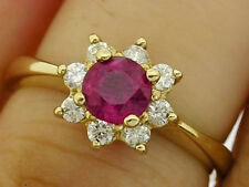 R087 Genuine 9ct Gold NATURAL Ruby Diamond 0.25ct Engagement Cluster Ring size M