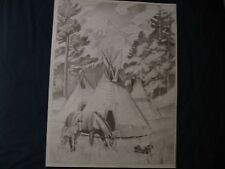 * TRI CHEM 2401 TEEPEE HORSES COLT CAMPFIRE   Liquid Embroidery Picture TRICHEM