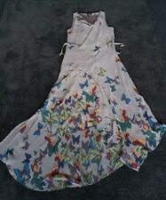 SIZE 8 WAREHOUSE GREY BUTTERFLY PRINT CHIFFON DRESS BNWOTS