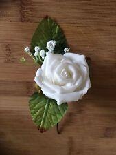 Wedding Flowers White Rose Buttonhole with Gypsophilia