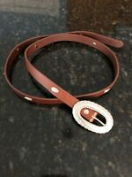 Urban Outfitters Brown Leather Belt w/Silver Etched Detail/Buckle, Large, NWOT