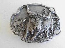 BELT BUCKLE CATTLE LONG HORN VINTAGE MADE IN USA 1989  3D