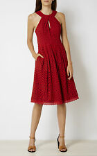 KAREN MILLEN DZ009 NEW WITH TAG KNOT NECKLINE BRODERIE DRESS BURNT ORANGE UK8