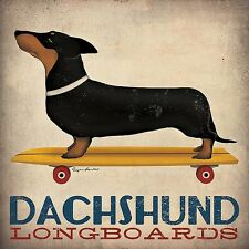 Dachshund Longboards - Ryan Fowler Art Print Vintage Skateboard Dog Poster 27x27