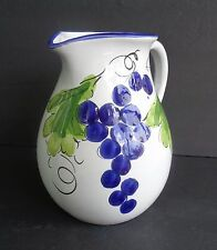 """PORTUGAL HEAVY RED CLAY PITCHER 8"""" TALL WITH PURPLE GRAPES AND GREEN LEAVES"""