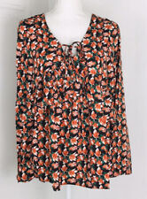 Entro Anthropologie Tunic Top Long Bell Sleeve Floral Boho Sz Small