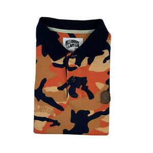 Billionaire Boys Club Orange Black Camo Leather Patch Mens Polo Size M