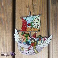 Gisela Graham Flying Boat Toys Elf Wings Hanging Xmas Christmas Tree Decoration