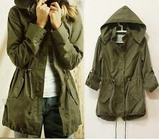 WOMEN DRAWSTRING ARMY GREEN PARKA JACKET COAT LADY HOODIE JUMPER MILITARY TRENCH